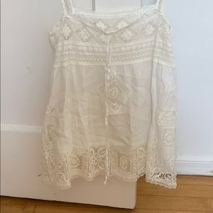 Spell White tank with lace
